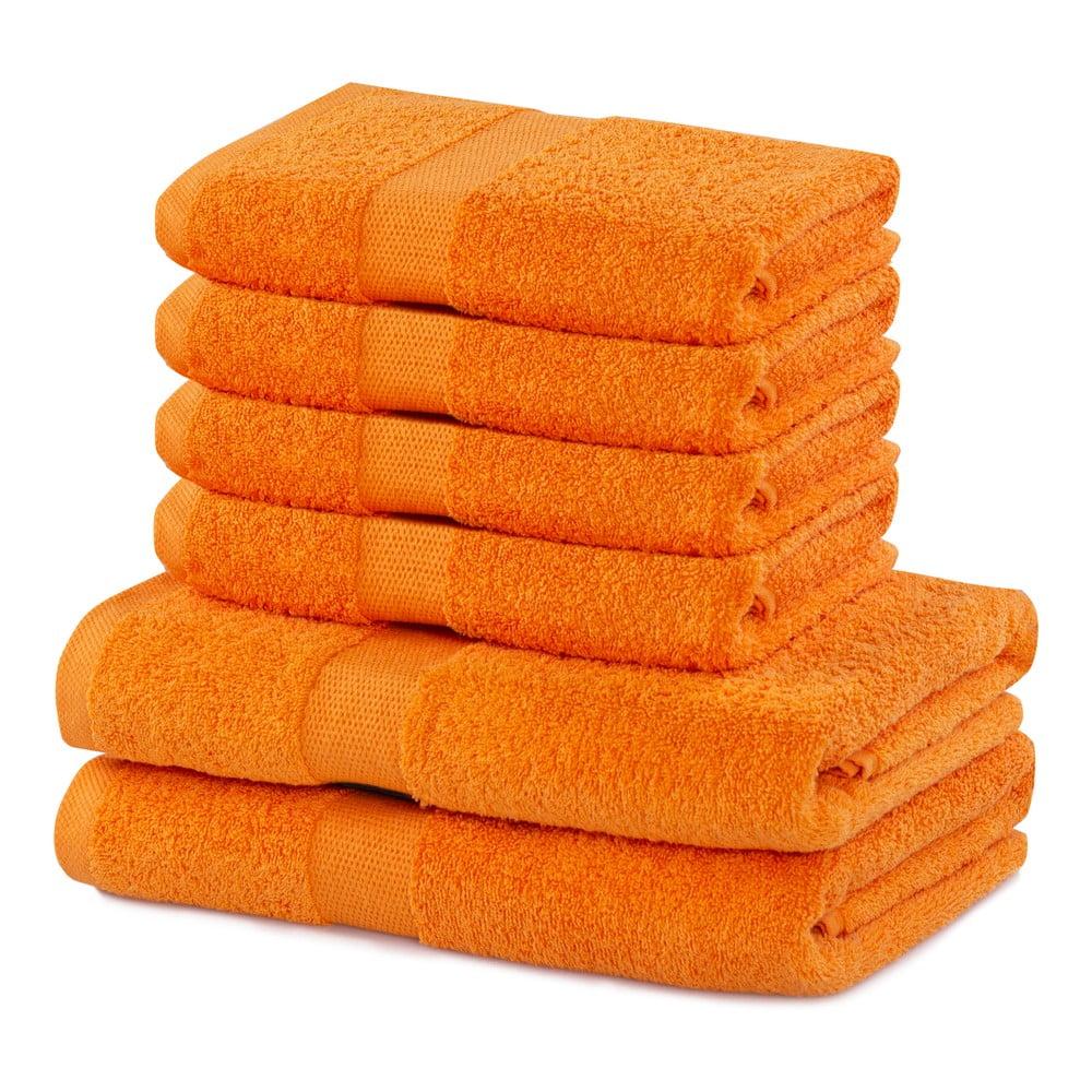 Set 2 bavlnených oranžových osušiek a 4 uterákov DecoKing Marina
