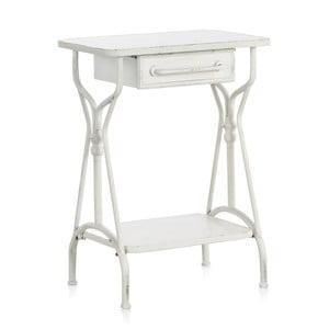 Biely kovový príručný stolík so zásuvkou Geese Industrial Style