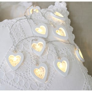 Svetelná reťaz Hearts 135 cm, biela