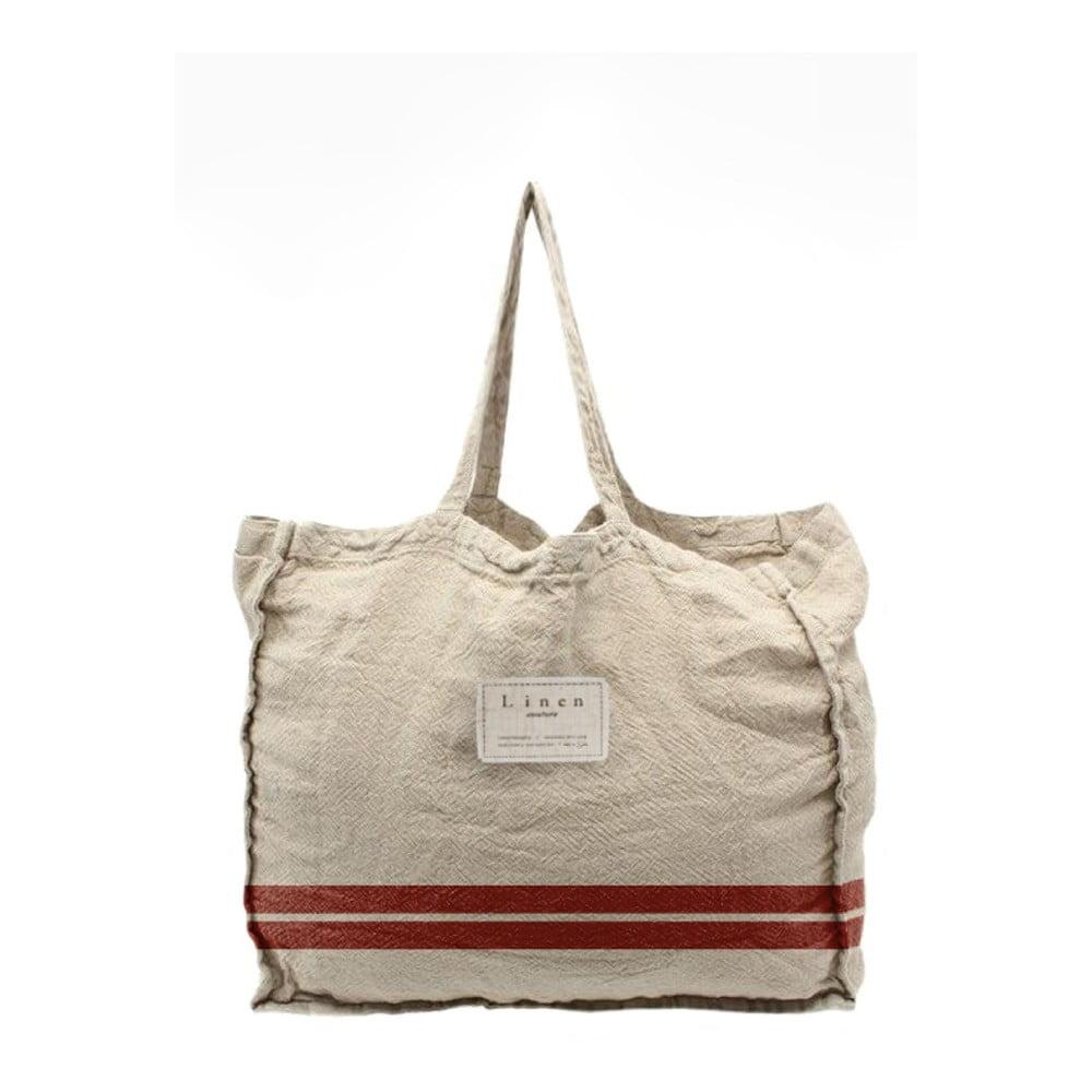 Látková taška Linen Couture Red Stripes, šírka 50 cm