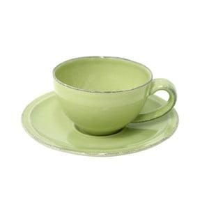 Zelená kameninová šálka na kávu s tanierikom Costa Nova Friso, objem 90ml