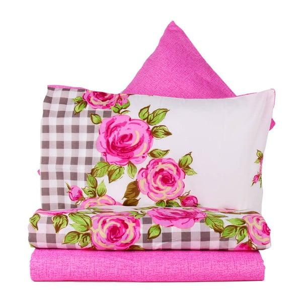 Ružové obliečky s plachtou Love Colors Florid, 160 x 220 cm