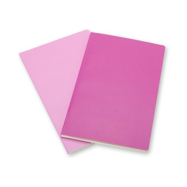 Sada 2 notesov Moleskine Volant 9x14 cm, ružová + čisté stránky