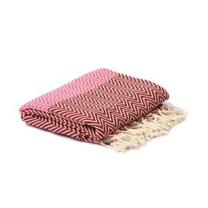 Červeno-ružový hammam uterák Spa Time Zig, 95 x 180 cm