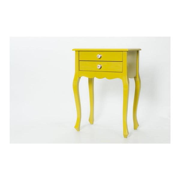 Odkladací stolík Nora Yellow, 52x35x72 cm