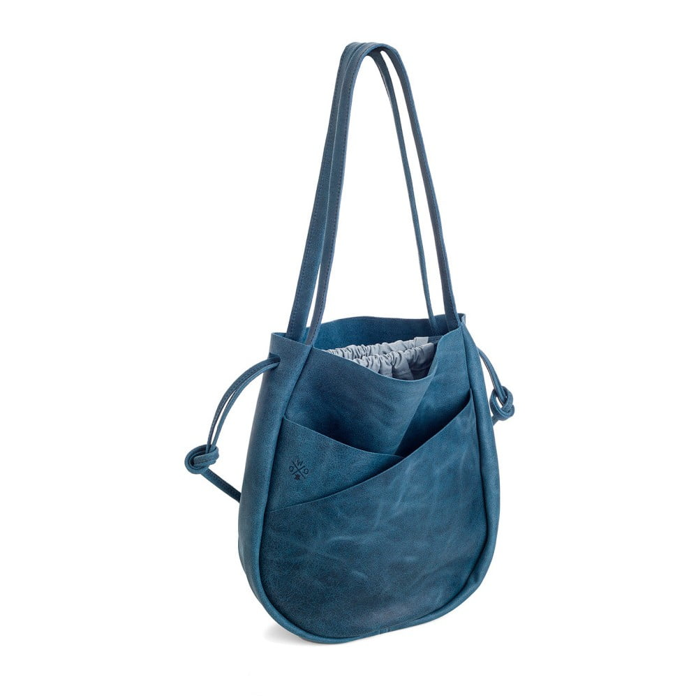 Modrá kožená kabelka Woox Bella