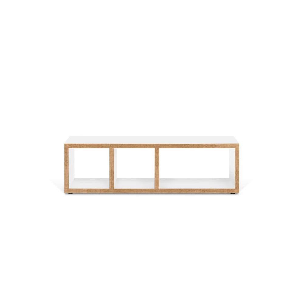 Bielo-hnedý televízny stolík TemaHome Berlin, 150 × 45 cm