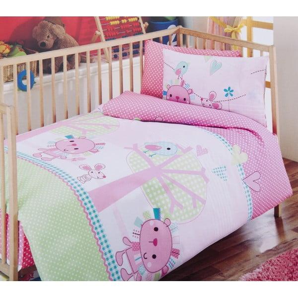 Set detských obliečok a plachty Pink Green, 120x150 cm