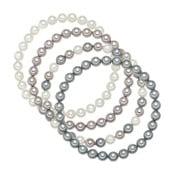 Štvorradový náramok so sivo-bielymi perlami ⌀6 mm Perldesse Beria, dĺžka 19 cm