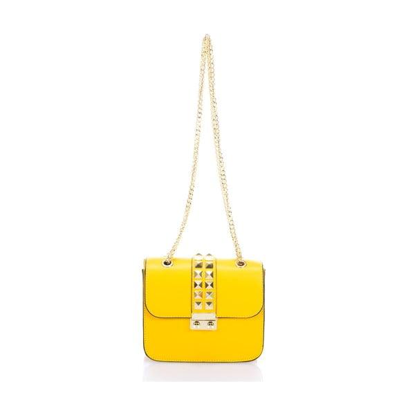 Žltá kožená kabelka Giulia Massari Skata