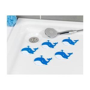 Sada 6 modrých protišmykových nálepiek do vane Wenko Whale