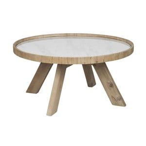Drevený odkladací kávový stolík s bielymi detailami J-line Cer, 79 cm