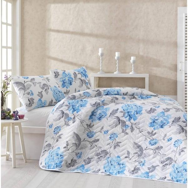 Sada prikrývky cez posteľ a dvoch obliečok na vankúš Flower Blue, 200x220 cm