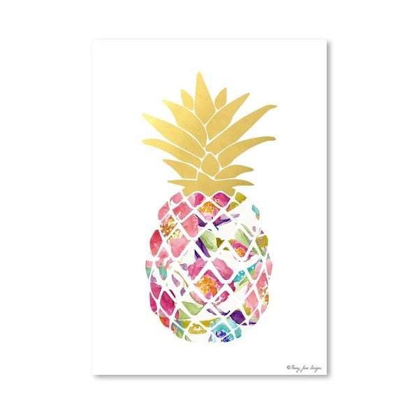 Plagát Watercolor Floral Pineapple