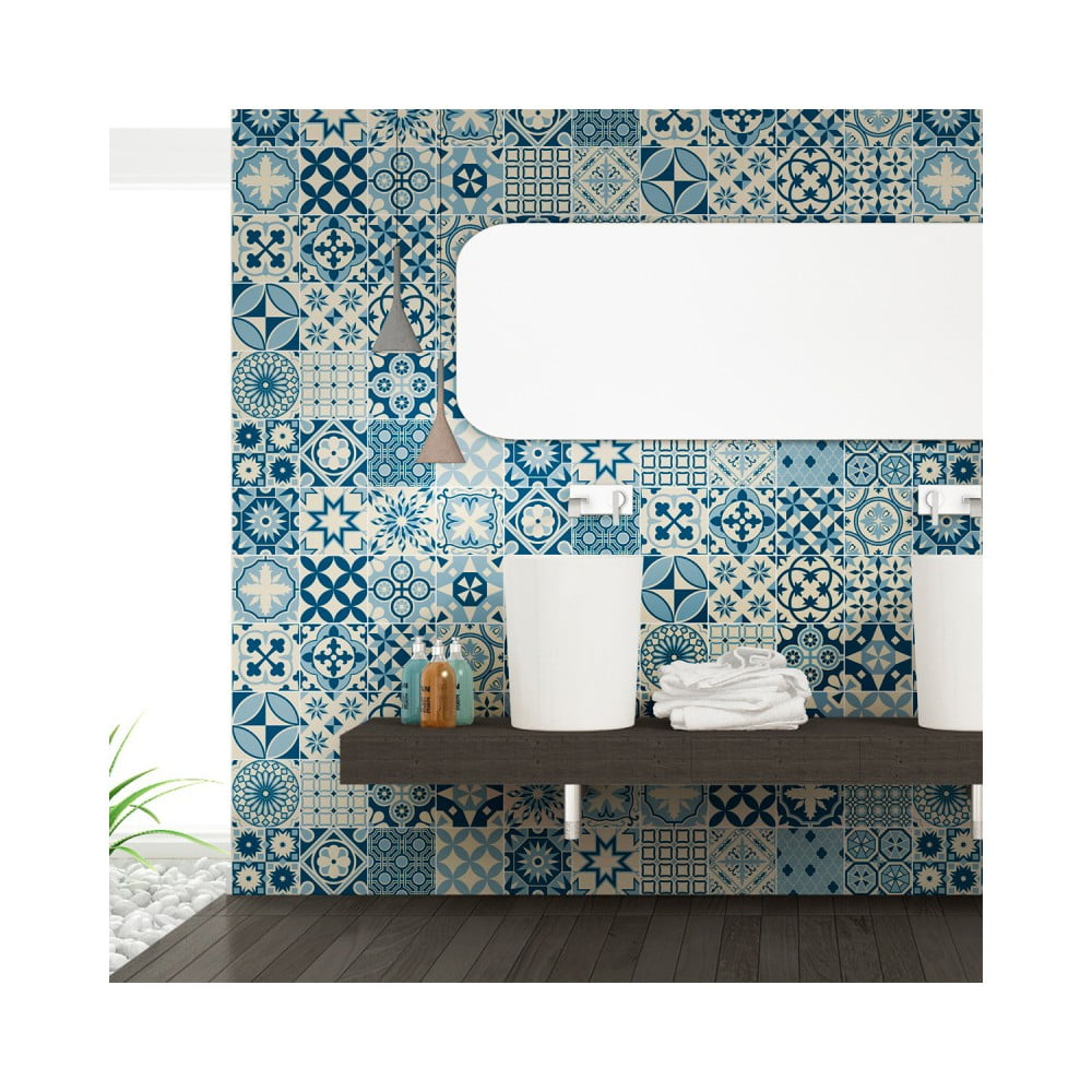 Sada 60 nástenných samolepiek Ambiance Wall Decal Cement Tiles Riana, 10 × 10 cm