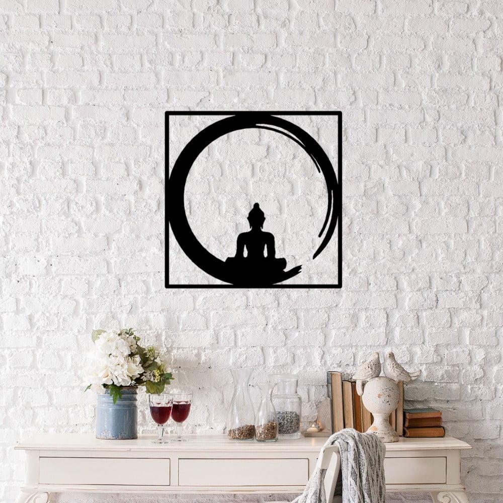 Čierna kovová nástenná dekorácia Buddha, 50 × 50 cm