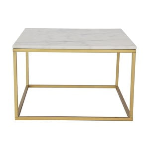 Mramorový konferenčný stolík s konštrukciou vo farbe mosadze RGE Accent, 75 x 75 cm
