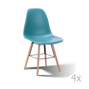 Sada 4 modrých stoličiek SOBCarson
