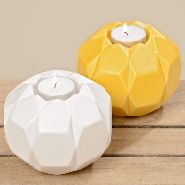 Sada 2 svietnikov Origami White Yellow
