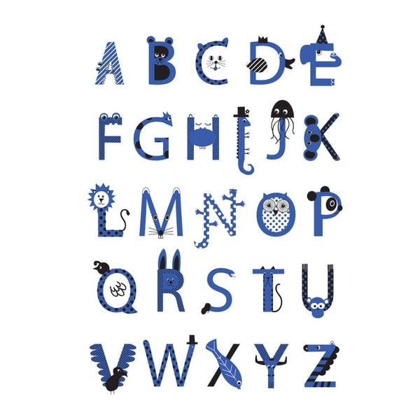 Plagát Alphabet Blue, 30x40 cm