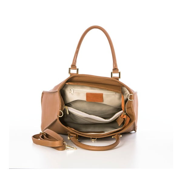 Hnedá kožená kabelka Federica Bassi Dol