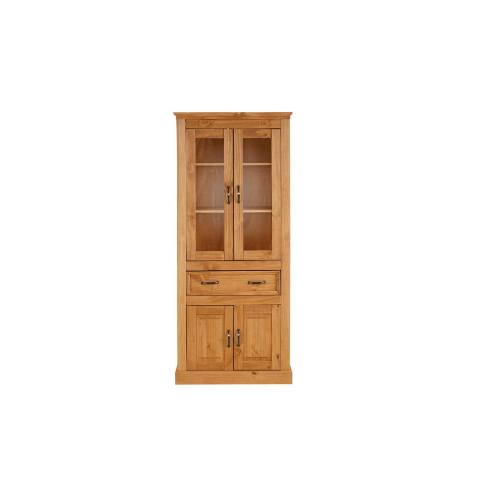 Hnedá štvordverová vitrína z masívneho borovicového dreva Støraa Suzie