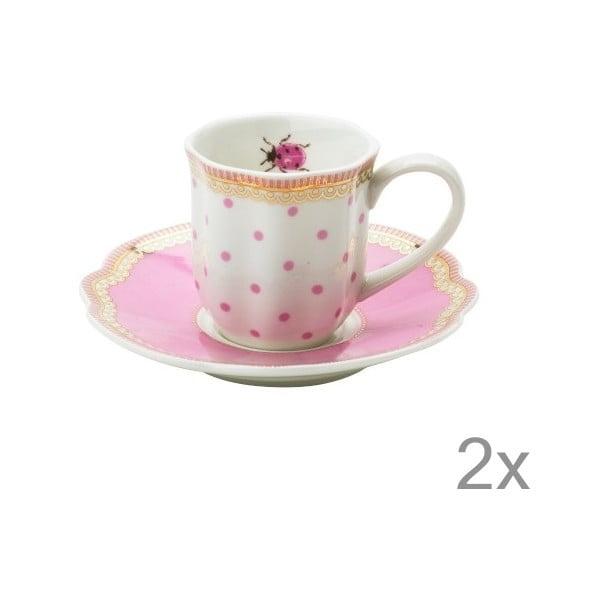 Porcelánová šálka na espresso s tanierikom Rosie od Lisbeth Dahl, 2 ks
