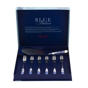 7dielna sada dezertných príborov s procelánovou rukoväťou Spode Blue Italian