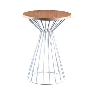 Biely odkladací stolík sdoskou vdekore dubového dreva sømcasa Niko
