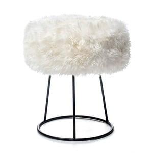 Stolička s bielym sedadlom z ovčej kožušiny Royal Dream, ⌀ 36 cm