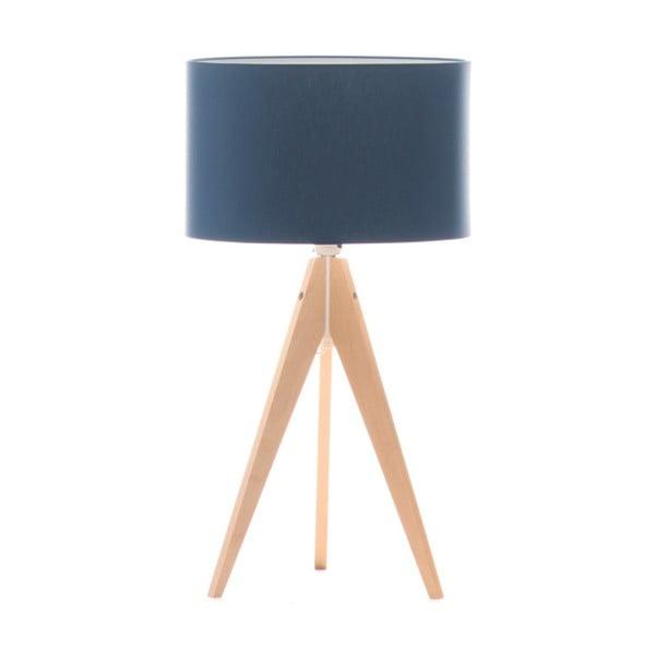 Modrá stolová lampa Artista, breza,Ø33cm