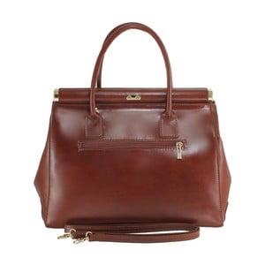 Hnedá kožená kabelka Chicca Borse Tammy