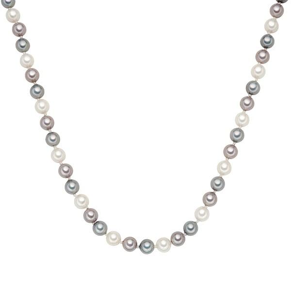 Náhrdelník so sivobielymi perlami ⌀ 8 mm Perldesse Muschel, dĺžka 42 cm