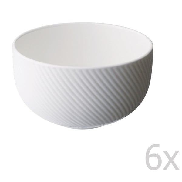 Sada 6 misiek z kostného porcelánu Flute, 11 cm