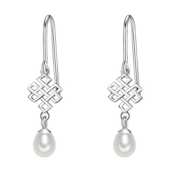 Strieborné náušnice s bielou perlou Chakra Pearls Done