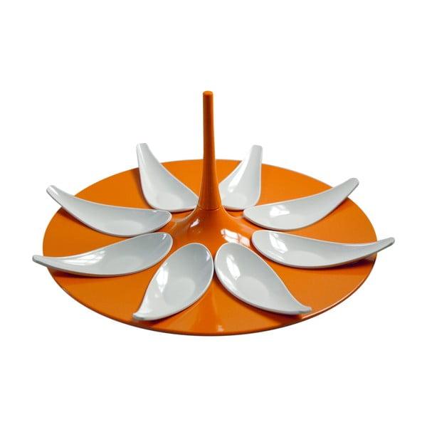 Oranžovo-biely servírovací set na jednohubky Entity