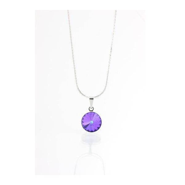 Fialový náhrdelník so Swarovski krištáľmi Yasmine Longie