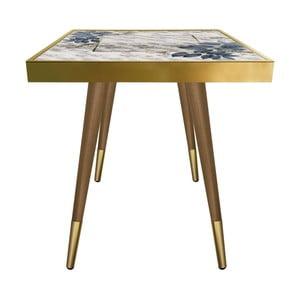 Príručný stolík Caresso Blue Marble Leafes Square, 45 × 45 cm