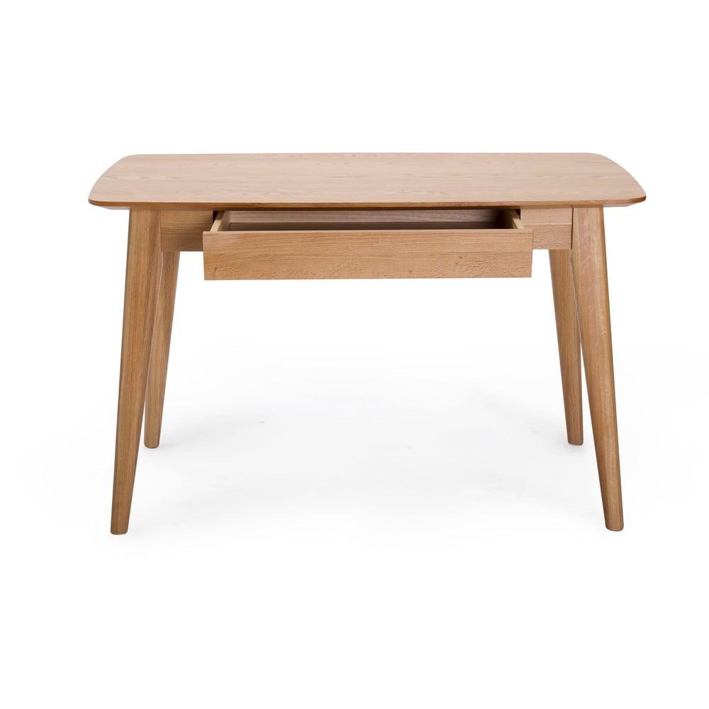 Písací stôl so zásuvkou a s nohami z dubového dreva Unique Furniture Rho, 120 x 60 cm
