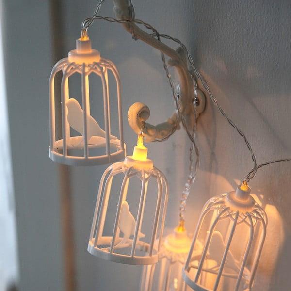 Biela svetelná LED reťaz Best Season Bird Cages, 6 svetielok