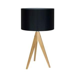 Čierna stolová lampa 4room Artist, breza, Ø 33 cm