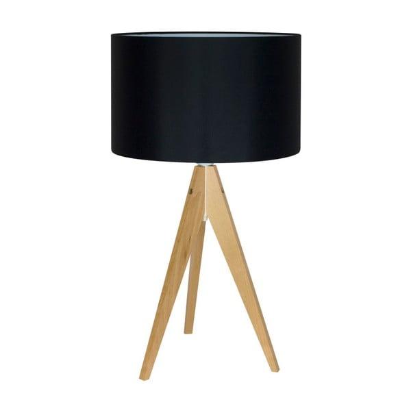Čierna stolová lampa Artist, breza, Ø 33 cm