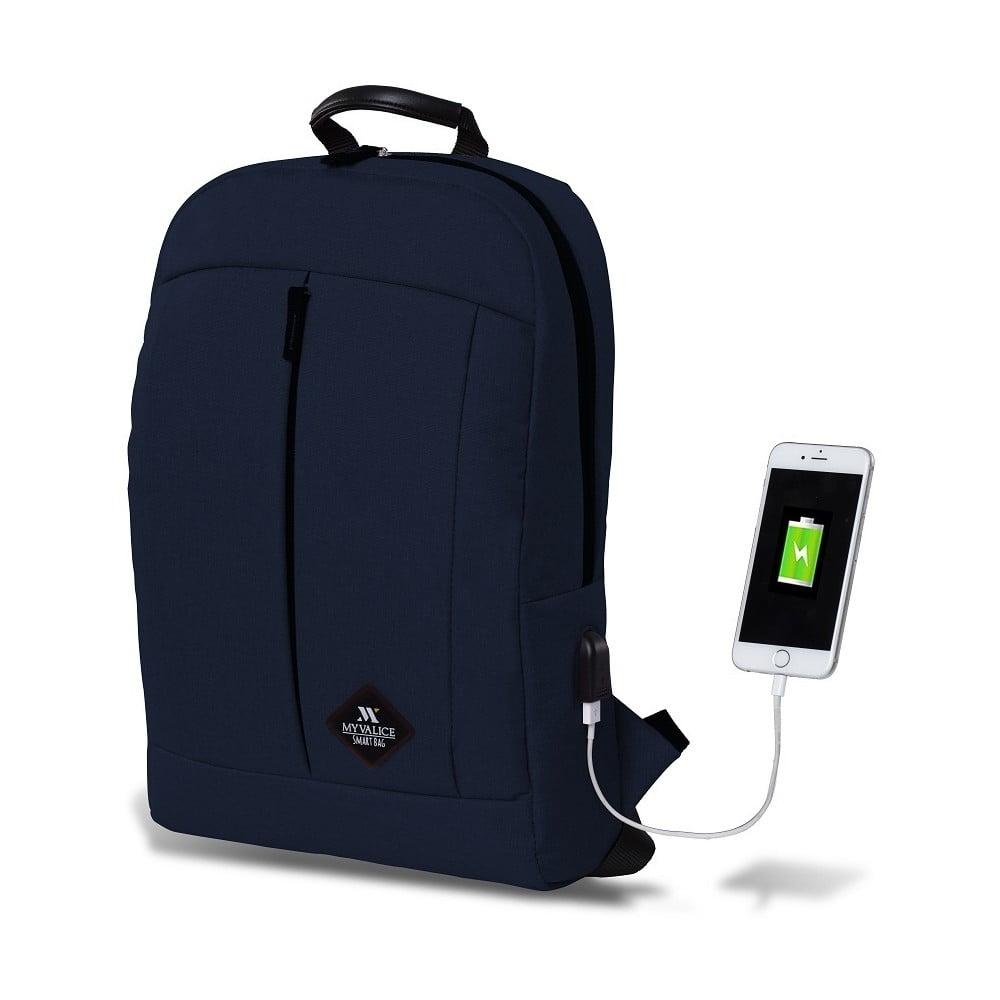 Tmavomodrý batoh s USB portom My Valice GALAXY Smart Bag