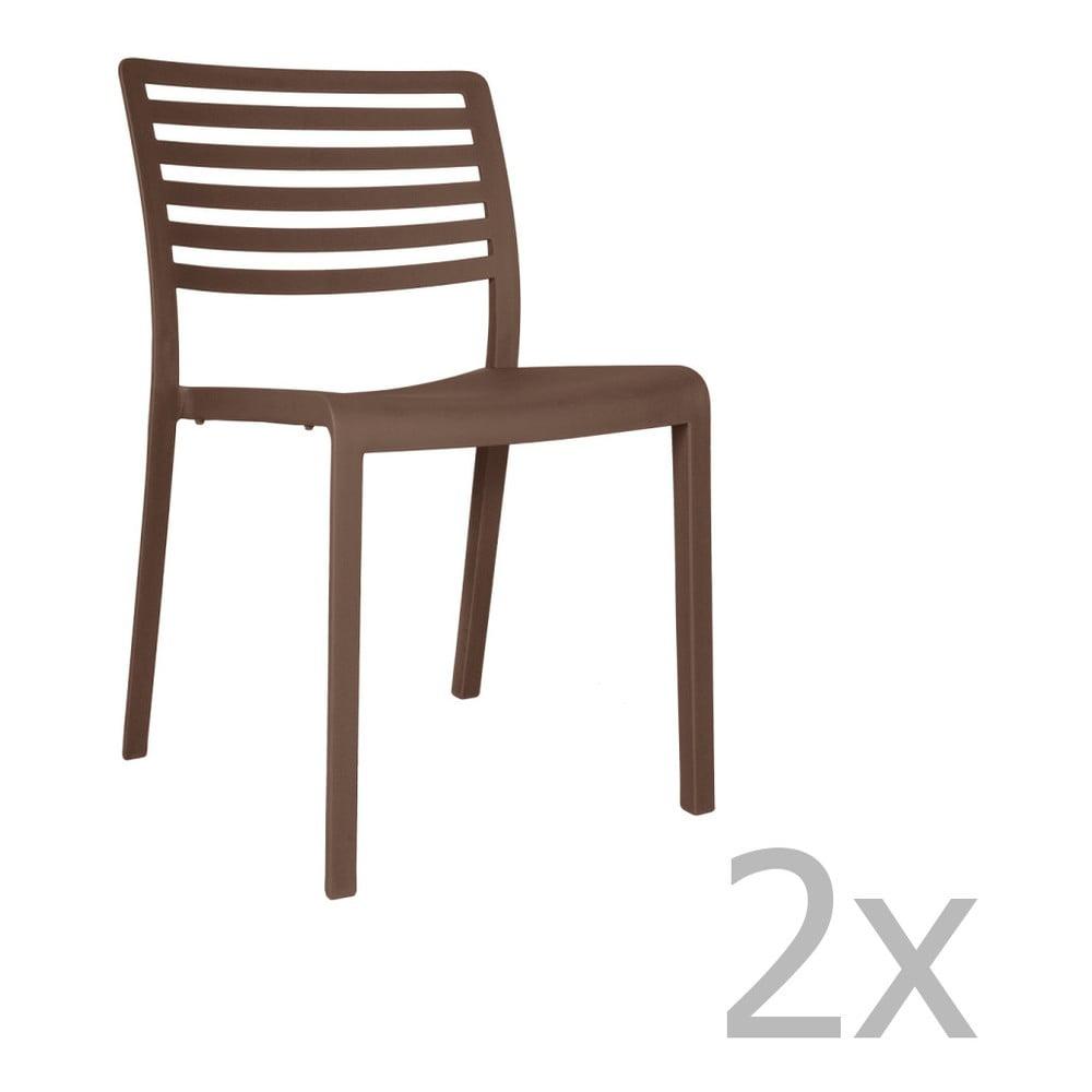 Sada 2 čokoládovohnedých záhradných stoličiek Resol Lama