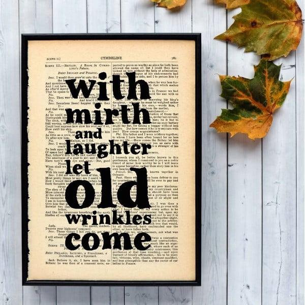 Plagát v drevenom ráme Shakespeare Mirth and Laughter