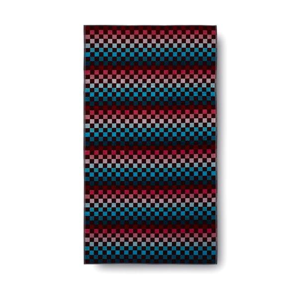 Červeno-modrá bavlnená osuška Casa Di Bassi Squares, 100x180 cm