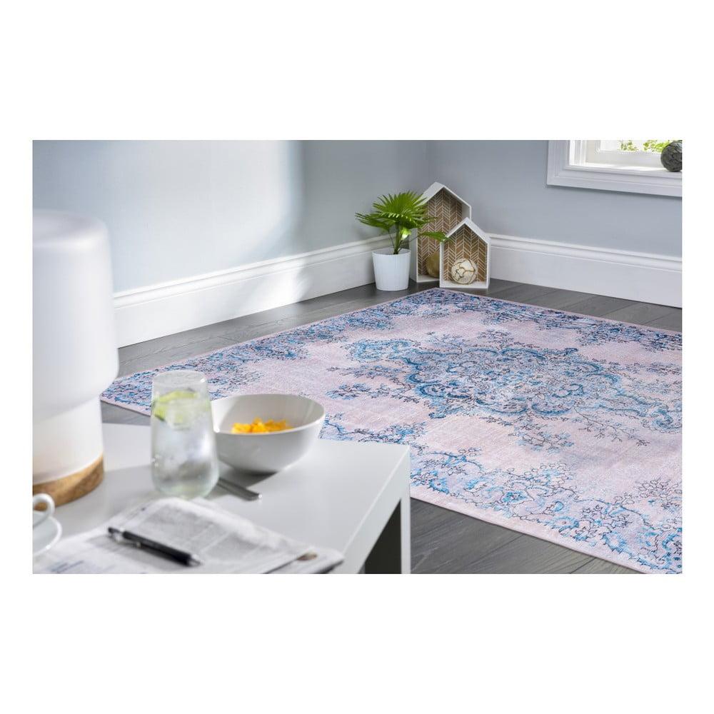 Koberec odolný voči škvrnám Floorita Sonja Natural Blue, 120 × 180 cm