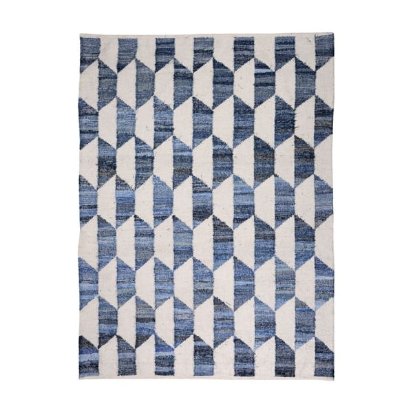 Vlnený koberec Cooper Blue/Ivory, 160x230 cm