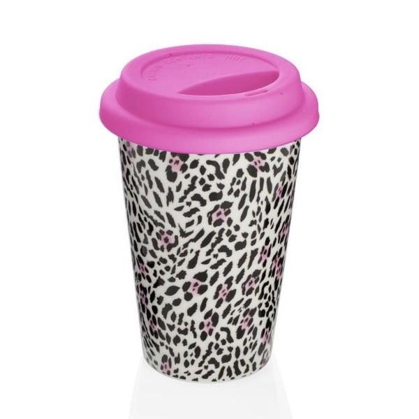 Ružový cestovný hrnček z kostného porcelánu Sabichi Leopard, 300ml