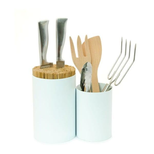 Biely blok na nože a kuchynské náčinie Wireworks Knife&Spoon